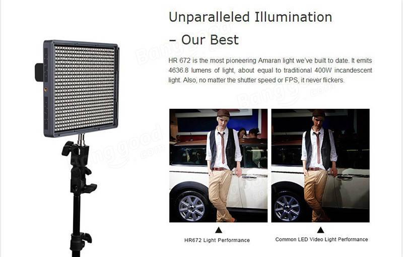 Aputure Amaran HR672W High CRI95+ 672 Led Video Light Panel 5500K