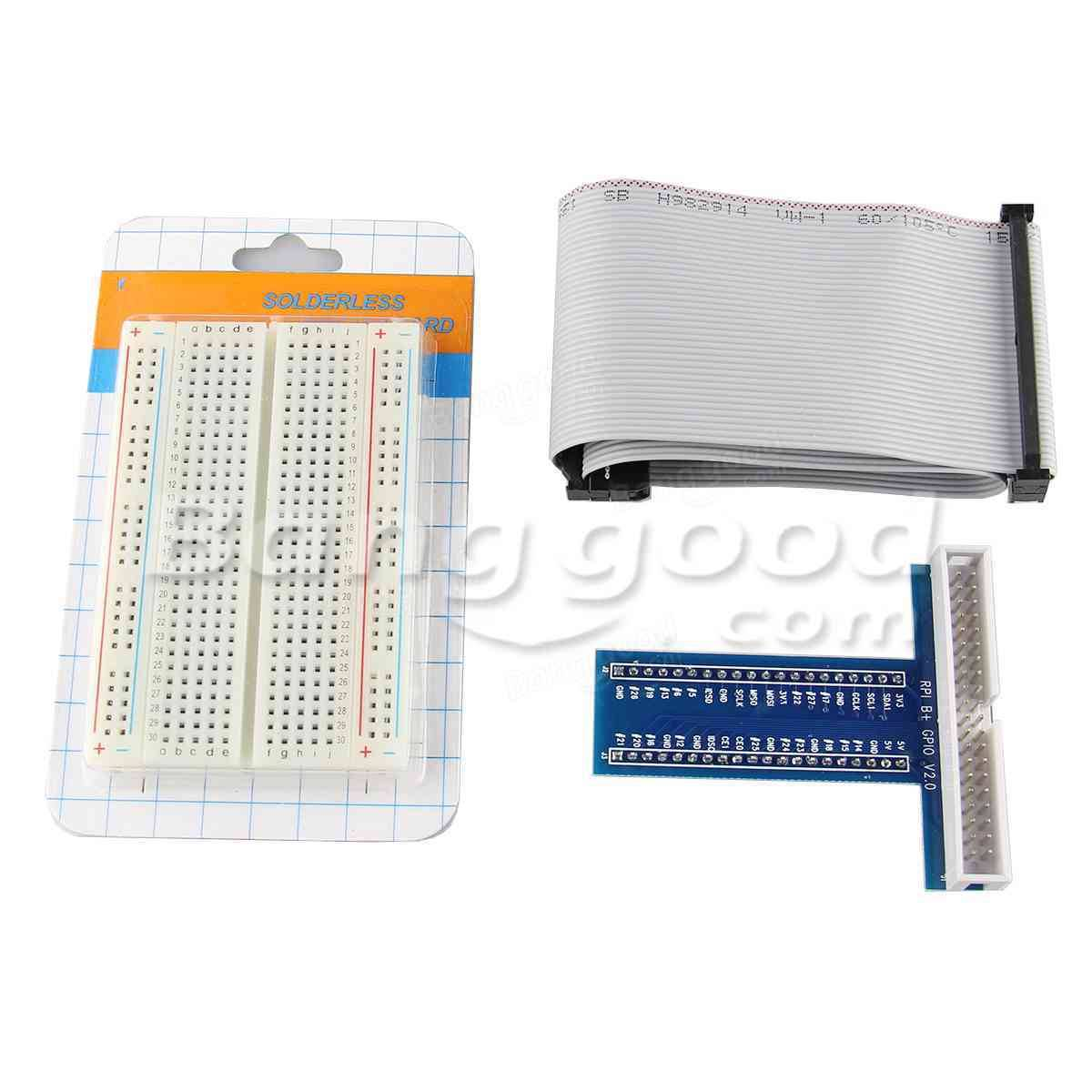 Solderless 400 Point Breadboard + 40Pin Cable + 40Pin GPIO For Raspberry Pi 2 Mode B/B+