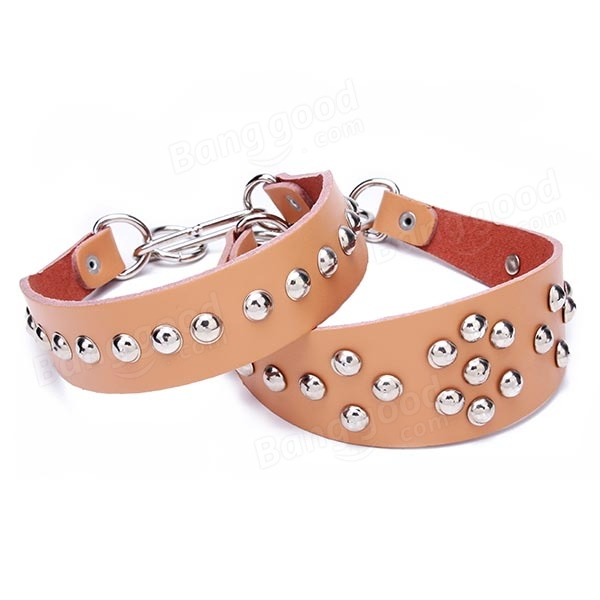 Cowhide Genuine Rivet Studded Leather Pets Dogs Collar