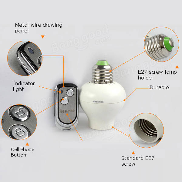 Hesunse E27 One Way Remote Control Lamp Bulb Holder 220V Awesome Design